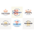 hand drawn fast food logos and labels with modern vector image vector image