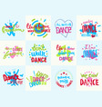 handdrawn lettering love dance and music phrase vector image vector image