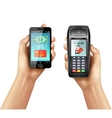 Hands With Smartphone And Payment Terminal vector image
