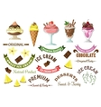 Ice cream icons with retro design elements vector image vector image