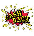 isolated pop art emblem cash back vector image vector image