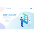 isometric chat bot and online survey online exam vector image