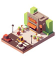 isometric kebab shop vector image vector image