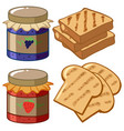jam and bread on white background vector image vector image