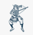japanese samurai warriors with weapons sketch men vector image vector image