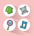 kawaii collection icons social media vector image