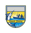 kayak fishing blue marlin badge vector image vector image