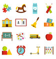kindergarten symbol icons set in flat style vector image vector image