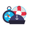marine lifebuoy compass and hat vector image vector image