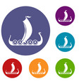 medieval boat icons set vector image vector image