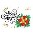 merry christmas greeting card gift box vector image vector image
