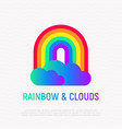 rainbow with gradient clouds icon lgbt symbol vector image