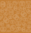 seamless pattern of outline pretzel vector image vector image