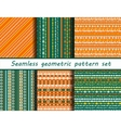 Set of six blue colored ethnic patterns vector image