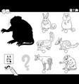 shadows task with cartoon animals coloring book vector image vector image