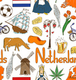 Sketch Netherlands seamless pattern vector image