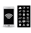 Smartphone and 18 icons vector image vector image