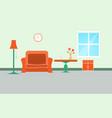 sofa orange living room interior vector image