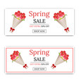 spring sale banner with bouquet tulips vector image