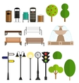 Street City Flat Design Elements vector image vector image