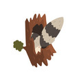 tail of raccoon sticking out of hollow tree vector image vector image