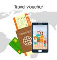 travel voucher lettering color vector image vector image