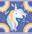 unicorn rainbow floral decoration fantasy magic vector image
