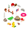 Usa icons set isometric 3d style