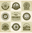 vintage organic labels and badges set vector image vector image