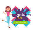 young woman stands and points to 30 off only today vector image vector image