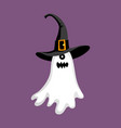 cute halloween ghost in hat vector image