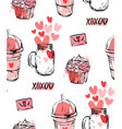 set of stickers badges and labels for valentine s vector image