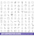 100 corporation icons set outline style vector image