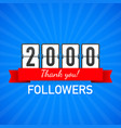 2000 followers thank you social sites post thank vector image vector image