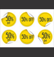 50 percent off yellow paper sale stickers vector image
