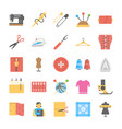 a flat icon set of sewing tools vector image vector image