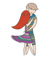 a girl and a guy dancing forro zen tangle vector image
