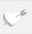 arrow heart sign white icon with soft vector image vector image
