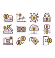 bitcoin mining icons set vector image