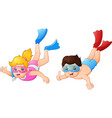 boy and girl diving under water vector image