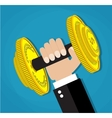 Business executive power lifting barbell vector image