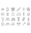 camping line icon set mountain hike equipment kit vector image vector image