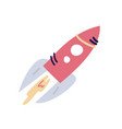 cartoon flat rocket starship flying up flat on vector image vector image