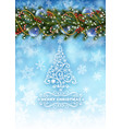 christmas card with snow vector image vector image