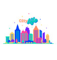 city life silhouettes of buildings with neon glow vector image vector image