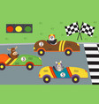 classic old race cars with animal on races vector image