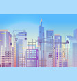 construction work cityscape with cranes vector image