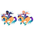 couple of girls are riding the unicorns vector image