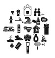 disaster icons set simple style vector image vector image