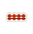fence icon in paper sticker style vector image vector image